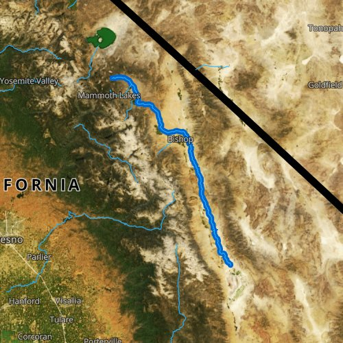 Fly fishing map for Owens River, California