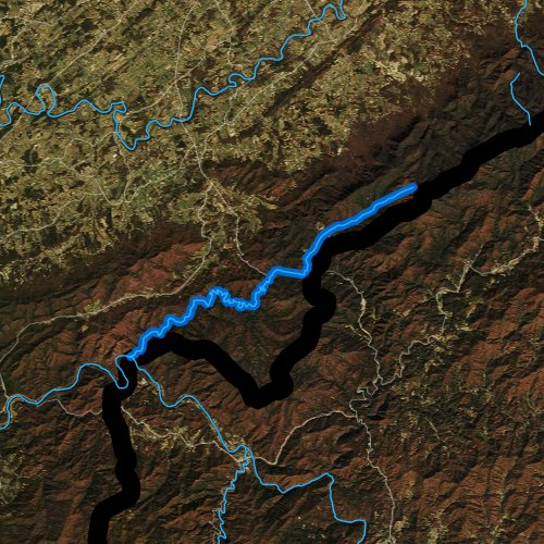 Fly fishing map for Paint Creek, Tennessee