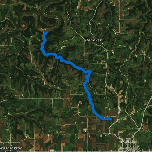 Fly fishing map for Patterson Creek, Iowa