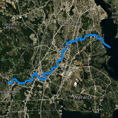 Fly fishing map for Pawtuxet River, Rhode Island