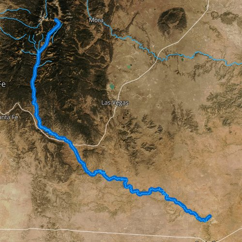 Fly fishing map for Pecos River, New Mexico