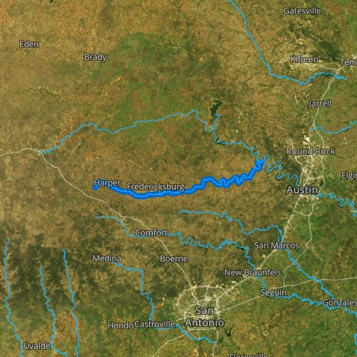 Fly fishing map for Pedernales River, Texas