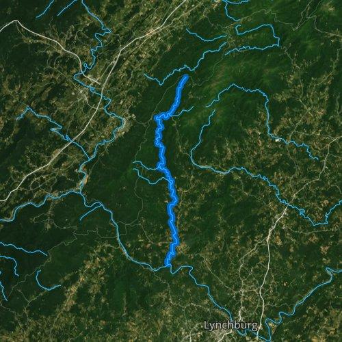 Fly fishing map for Pedlar River, Virginia