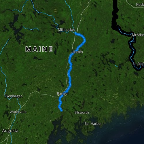 Fly fishing map for Penobscot River, Maine