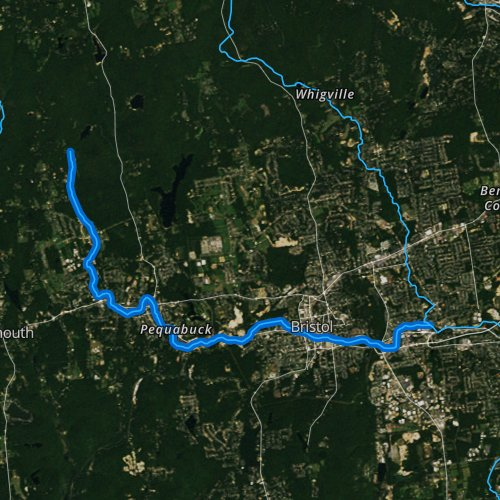 Fly fishing map for Pequabuck River, Connecticut