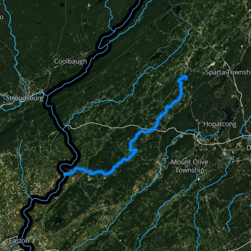 Fly fishing map for Pequest River, New Jersey