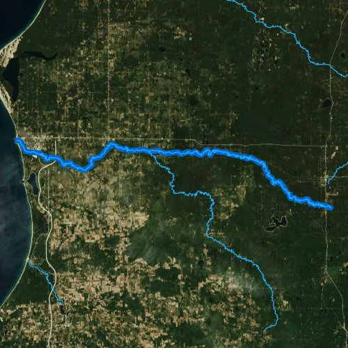 Fly fishing map for Pere Marquette River, Michigan