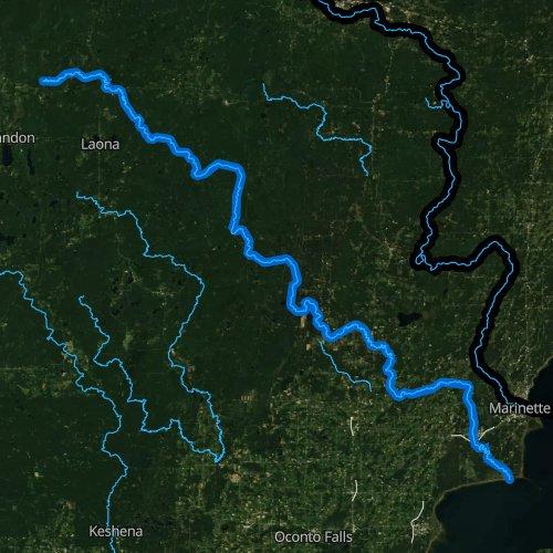 Fly fishing map for Peshtigo River, Wisconsin