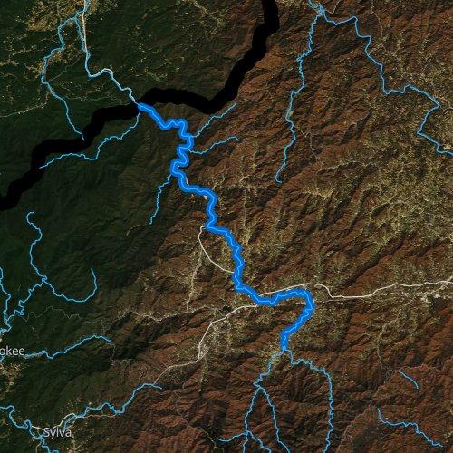Fly fishing map for Pigeon River, North Carolina
