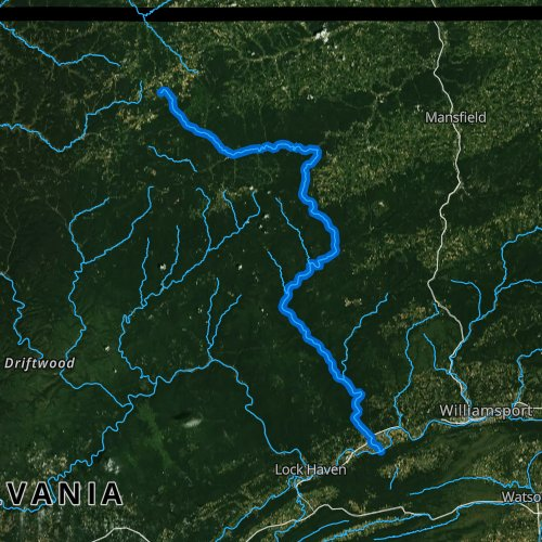 Fly fishing map for Pine Creek, Pennsylvania