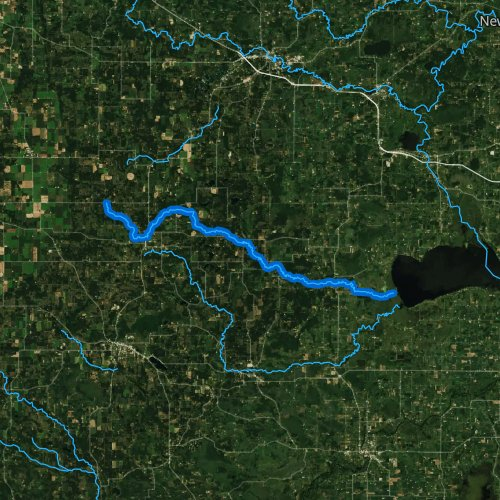Fly fishing map for Pine River, Wisconsin