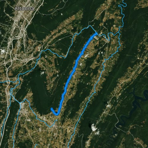 Fly fishing map for Piney Creek, Pennsylvania