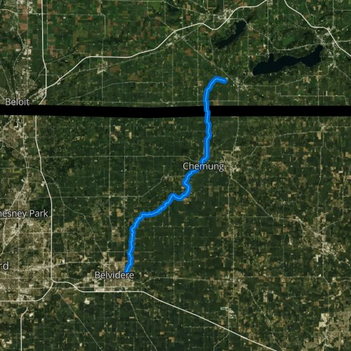 Fly fishing map for Piscasaw Creek, Illinois