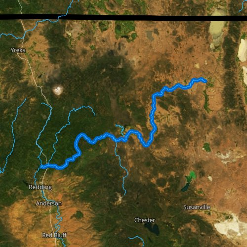 Fly fishing map for Pit River, California