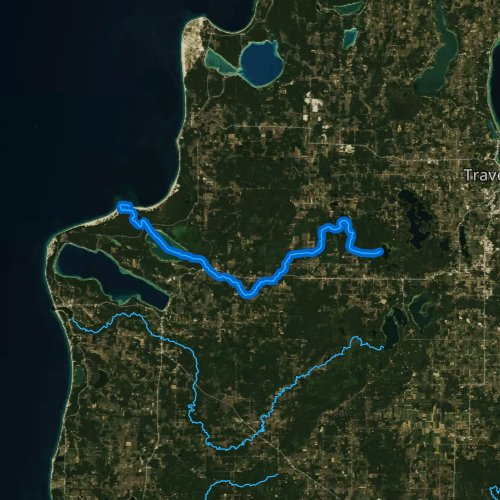 Fly fishing map for Platte River, Michigan