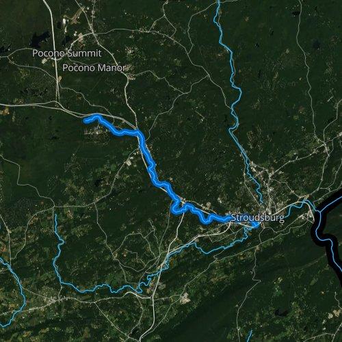 Fly fishing map for Pocono Creek, Pennsylvania