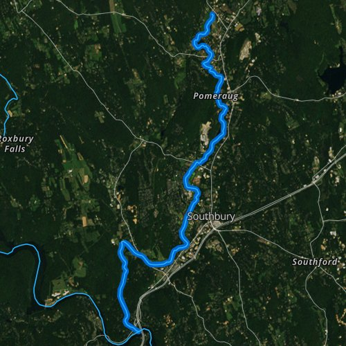 Fly fishing map for Pomperaug River, Connecticut