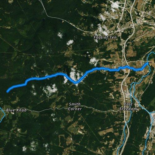 Fly fishing map for Poplar Run, Pennsylvania