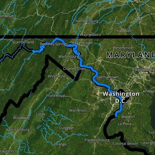 Fly fishing map for Potomac River, Virginia
