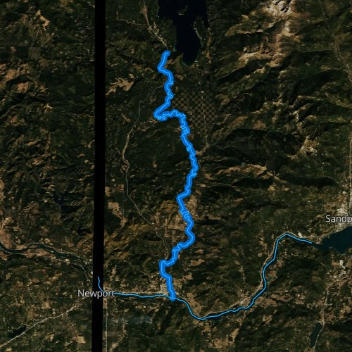 Fly fishing map for Priest River, Idaho
