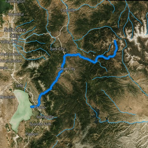 Fly fishing map for Provo River, Utah