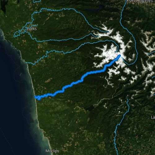 Fly fishing map for Queets River, Washington