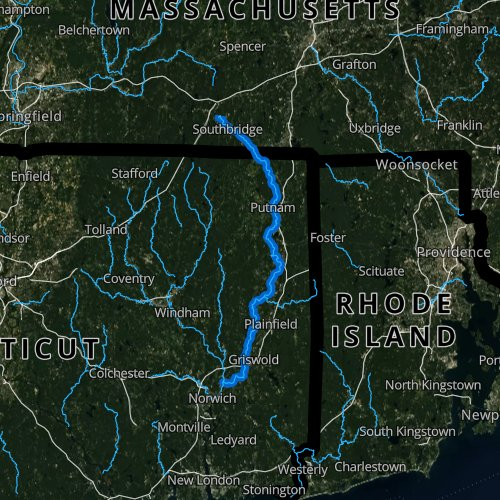 Fly fishing map for Quinebaug River, Connecticut