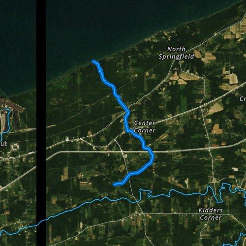 Fly fishing map for Raccoon Creek, Pennsylvania