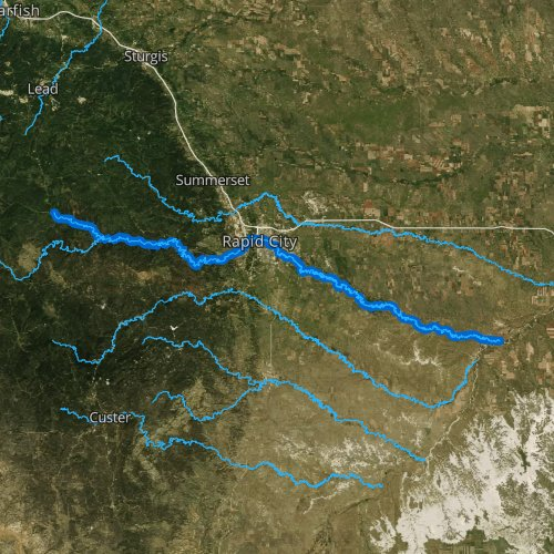 Fly fishing map for Rapid Creek, South Dakota