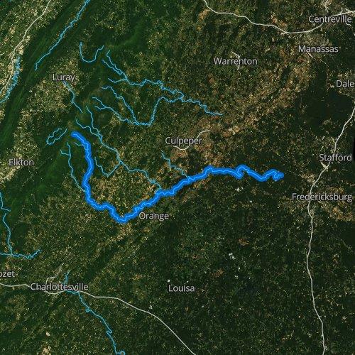 Fly fishing map for Rapidan River, Virginia