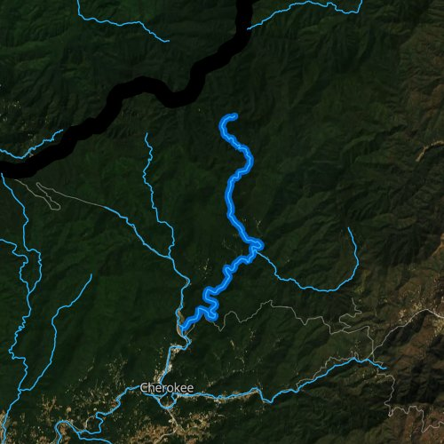 Fly fishing map for Raven Fork, North Carolina