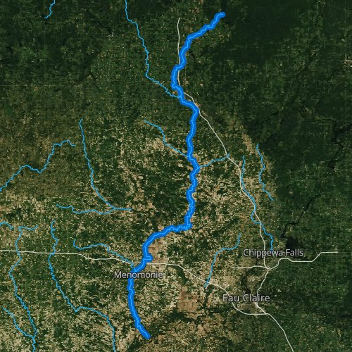 Fly fishing map for Red Cedar River, Wisconsin