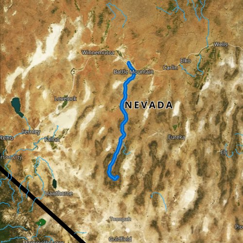 Fly fishing map for Reese River, Nevada