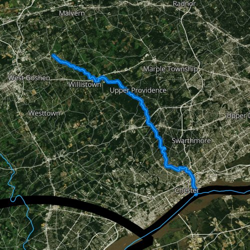 Fly fishing map for Ridley Creek, Pennsylvania