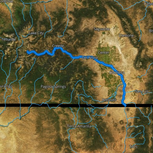 Fly fishing map for Rio Grande, Colorado