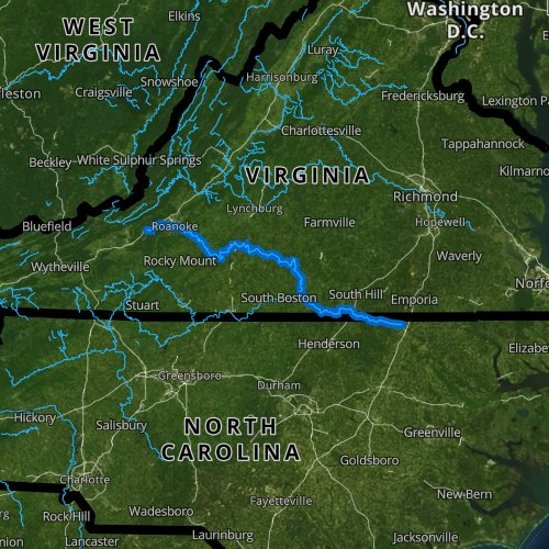 Fly fishing map for Roanoke River, Virginia