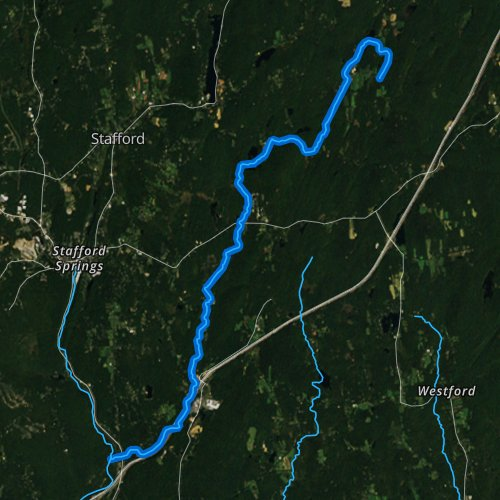 Fly fishing map for Roaring Brook, Connecticut
