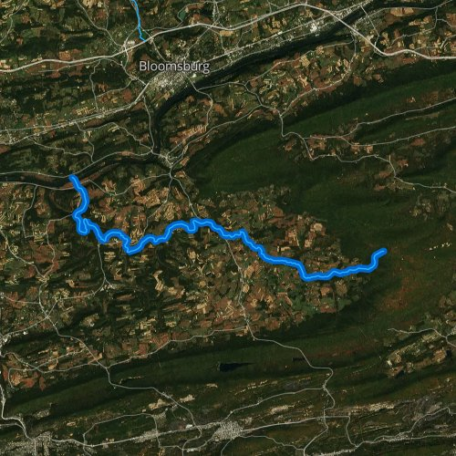 Fly fishing map for Roaring Creek, Pennsylvania