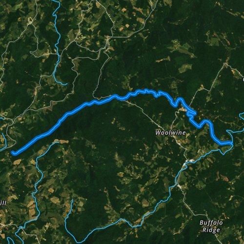 Fly fishing map for Rock Castle Creek, Virginia