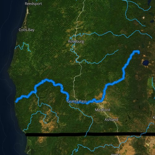 Fly fishing map for Rogue River, Oregon