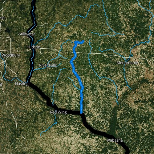 Fly fishing map for Rush River, Wisconsin