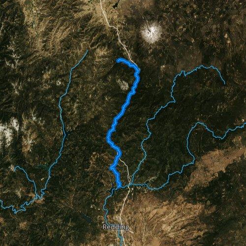 Fly fishing map for Sacramento River: Upper, California