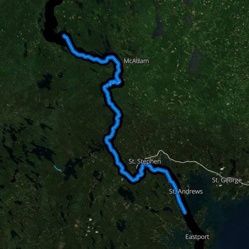 Fly fishing map for Saint Croix River, Maine