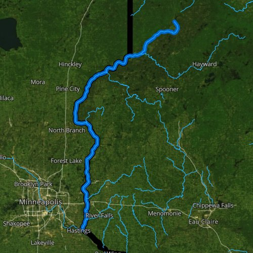 Fly fishing map for Saint Croix River, Wisconsin