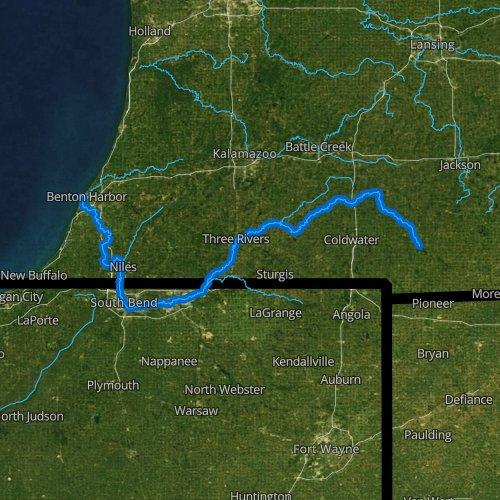 Fly fishing map for Saint Joseph River, Michigan