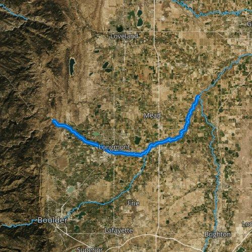 Fly fishing map for Saint Vrain Creek, Colorado