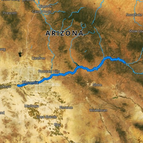 Fly fishing map for Salt River, Arizona