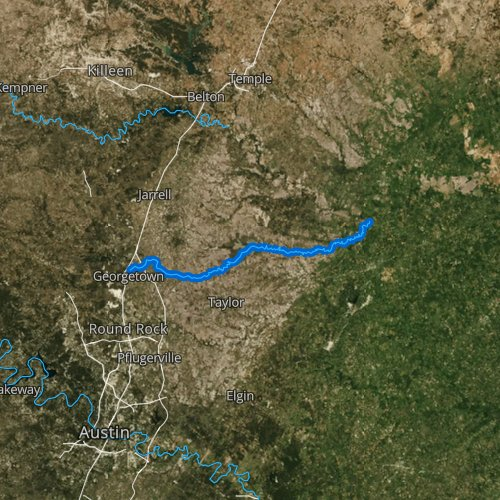 Fly fishing map for San Gabriel River, Texas
