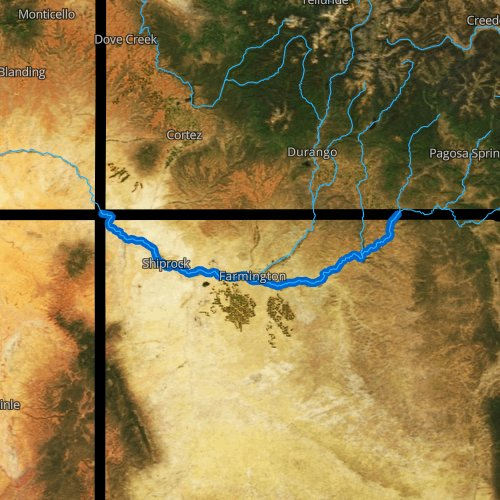 Fly fishing map for San Juan River, New Mexico