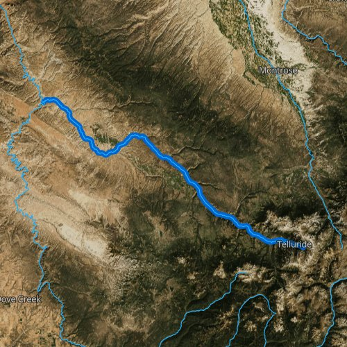 Fly fishing map for San Miguel River, Colorado